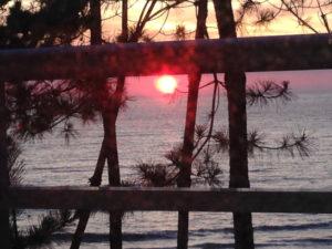 国民宿舎千畳苑から見た夕日